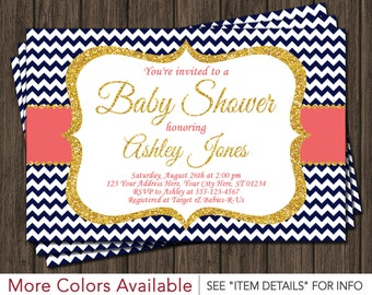 Navy and Coral Baby Shower Invitation
