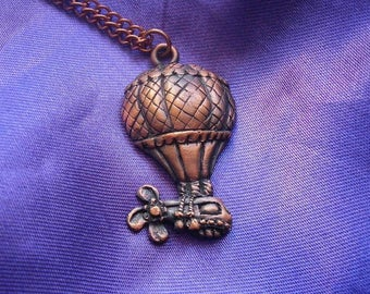 Air Balloon Pendant, Steampunk, Copper, Necklace, Pewter