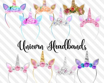 Unicorn Headbands Clip Art, glitter unicorn ears and horns clipart, photo overlays, pastel filter princess party fairy tale digital download