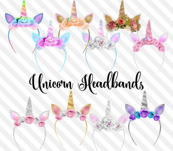 CLIP ART Unicorn Headbands Clip Art Glitter Ears And Horns Clipart Photo Overlay Filter Princess Party Fairytale Digital Download