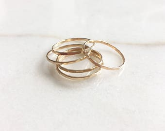 Dainty gold hammered ring | Stacking ring | 14k gold filled