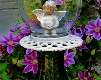 yard art-garden totem-angel in a bubble-glass garden art-repurposed-garden sculpture- garden decor- garden whimsey-Mother's Day-birthday
