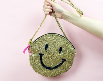 Super Sparkly Smiley Face Purse Zip Pouch Clutch Bag