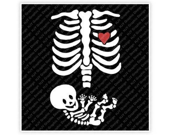 Skeleton, Ribs, Halloween, Heart, Baby, Pregnancy, Mom, Mommy, Illustration, TShirt Design, Cut File, svg, pdf, eps, png, dxf