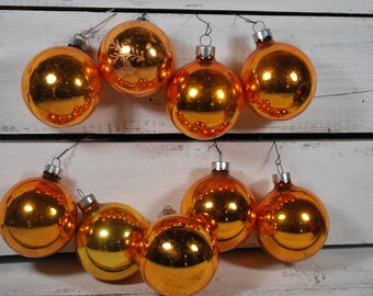 Gold Christmas Baubles , Holidays Glass Ornaments ,