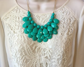 Teal Bubble Bib Beaded Chandelier Statement Necklace with Matching Earrings