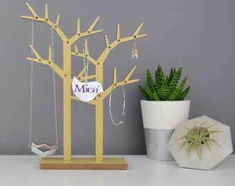 Wooden Jewellery Trees  - Wood Necklace Holder - Personalised Bird Hanger - Jewelry Rack - Jewellery Storage
