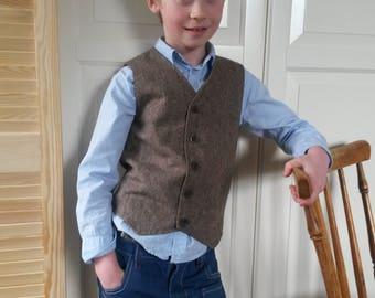 Costom order for Derek 3 Brown Wool  Tweed Vests   Woodland Wedding Boys Waistcoat Ring Bearer Outfit