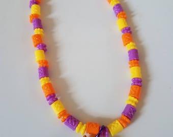 orange owl charm necklace