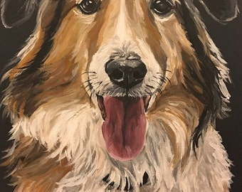 Collie art print from original  Collie canvas painting