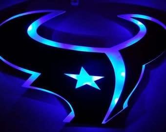 Houston Texans inspired 3D LED Lighted Sign NFL, Football, Man cave, Pub,Bar Custom Wood Sports Husband, Father, Grandpa, Dad Gift