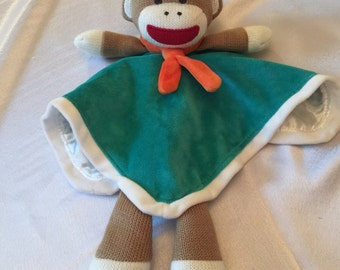 Sock Monkey Snuggle Buddy Comfort Security Bear Security Blanket Crib toy in Green Lovey - Personalized