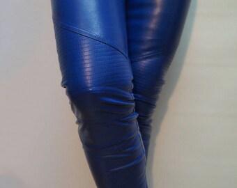 Vegan Leather Pants/Stretchy Pants/Leggings/Skinny Pants/Blue Vegan Leather Pants/Moto style Pants/Biker pants/Slim leg Pants/F1296