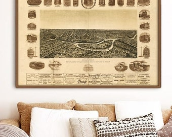 "Map of Dallas TX 1892, Vintage Dallas map up to 54x36"" Dallas poster, extra large bird's eye view, also in blue - Limited Edition of 100"