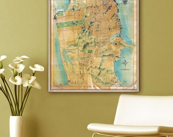 "San Francisco map 1915, Vintage map of San Francisco, CA, 4 sizes up to 36x43"" large wall map SF, also in blue - Limited Edition of 100"