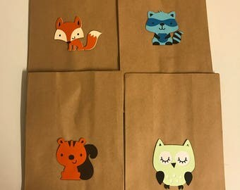 Set of 10 Woodland Animal Favor Bags