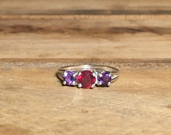 Ruby and Amethyst Ring, 1.34 Carats, 5 & 4mm Rounds, Sterling Silver, Size 7