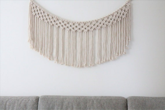 macrame wall hanging wallbanner nursery decor backdrop. Black Bedroom Furniture Sets. Home Design Ideas