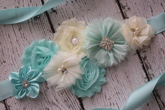 Flower Sash, aqua and ivory Sash , flower Belt, maternity sash, flower girl sash belt, flower sash