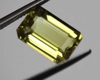Loose natural untreated Emerald cut Vivid Yellow Golden Beryl 5.01ct