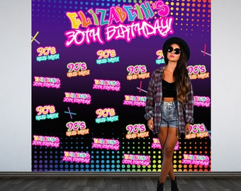 90's House Party Personalized Photo Backdrop, 30th Birthday Photo Backdrop- Milestone Birthday Photo Booth Backdrop- Hip Hop Step and Repeat