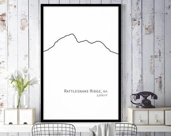 Rattlesnake Ridge Cascade Mountains Art, Minimalist Wall Decor, Mountain Decor, Printable Wall Art, Instant Download Art Black and White Art