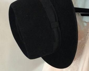Vintage/ Black Wool Short Brim Hat/ Fedora