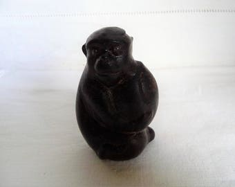 "Vintage Boxwood Oriental Netsuke Monkey and Peach Nut 2 1/2"" 6cms"