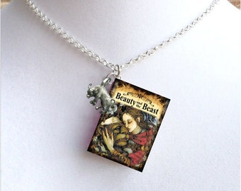 Beauty And The Beast with Tiny Beast Charm - Miniature Book Necklace