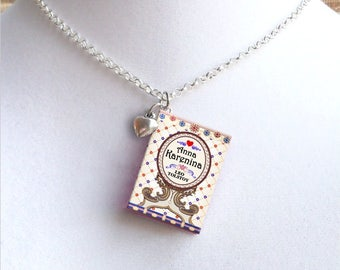 Anna Karenina with Tiny Heart Charm - Miniature Book Necklace