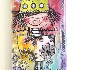 Original mixed media Collage artwork, children's wall art
