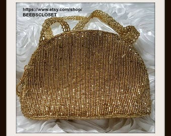 Gold beaded Evening bag with beaded handle and bag with zipper , and pocket