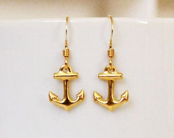 Dainty Gold Drop Earrings, Tiny Gold Anchor Earrings, Everyday Gold Earrings, Dainty Anchor Jewelry, Gift for Girlfriend