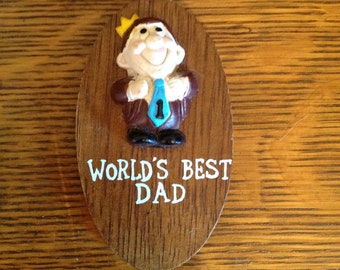 World's Best Dad!-1970's Fun Services, Taiwan Wooden Plaque-Tell Dad How You Feel