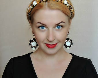 Tiara and Earrings Dolce Gabbana style -   Inspiration