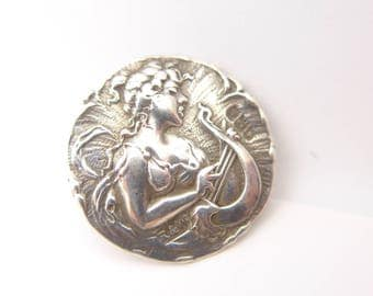 Antique Vintage Art Nouveau Birmingham Silver Lady Face Button - Hallmarked Solid Silver 1901