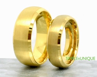 Wedding Ring Sets,Matching Wedding Bands,Gold Plated Tungsten Wedding Ring Sets,Couples Ring, Tungsten Wedding Band,His and Hers Rings