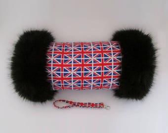 Union Jack Luxury Faux Fur Trimmed Hand Muff
