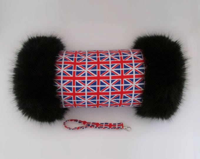 Union Jack Luxury Faux Fur Trimmed Hand Muff