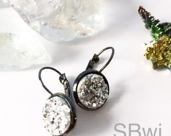 Druzy gun metal earrings