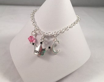 Princess Initial Bracelet - Crown Jewelry - Personalized Gift - Charm Bracelet - Personalized Jewelry - Gift for Her - Christmas Gift