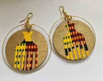 African earrings, afro pick earrings, African comb earrings, hoop earrings, wooden earrings, wooden hoop earrings