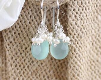 Aqua Chalcedony, Freshwater Pearl & Sterling Silver Cluster Earrings. Sea Foam Green Natural Gemstone Bead Jewelry. Drop, Dangle Earrings.