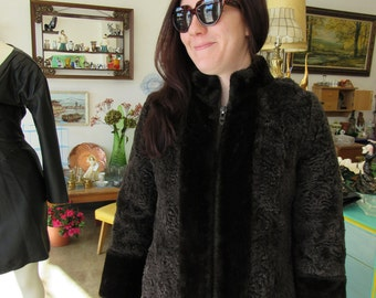 Vintage Short Hair Wool Long Jacket Sz S-M