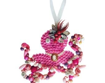 Pink Octopus Seashell Ornament