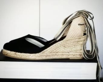 Lace-up espadrille wedges - BLACK with ZIGZAG RIBBONS - mumishoes - made in spain