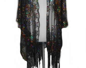 Womens Mother of the Bride Multi-Color Sequins Shawl Tunic Poncho Cover Up One Size