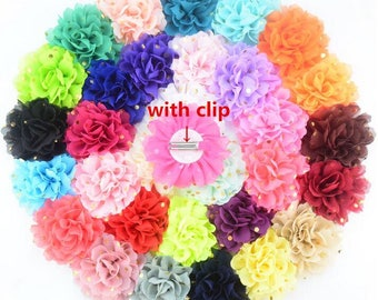 10 Pcs Fashion Colorful Amazing Chiffon Glitter Flower Headband with Hairpin YTA86