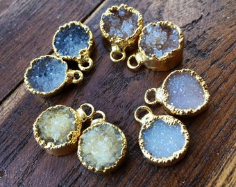 Druzy Pairs for earrings 12 to 14mm natural druzy #1007