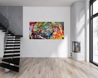 Original abstract artwork on canvas ready to hang 90x180cm #722
